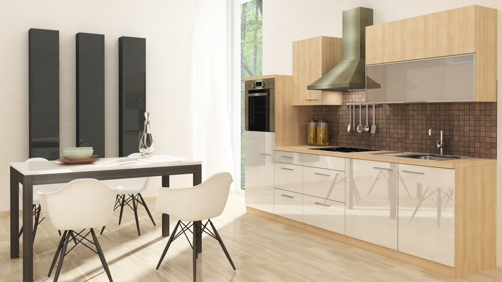 respekta k chenzeile k chenblock rp280awc 280 weiss hochglanz mit e ger ten neu ebay. Black Bedroom Furniture Sets. Home Design Ideas