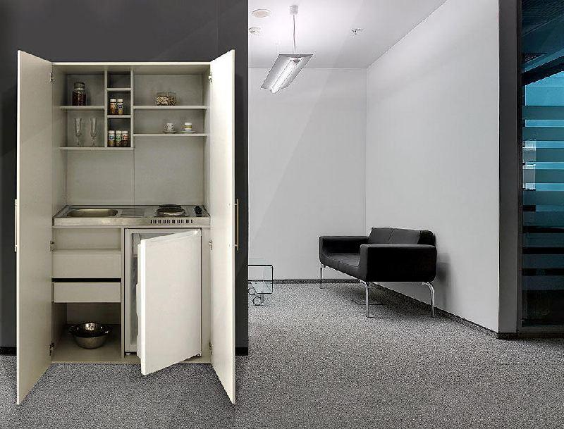 schrankk che b rok che silbergrau skw mit k hlschrank. Black Bedroom Furniture Sets. Home Design Ideas