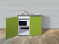 mit Mikrowelle und Kühlschrank