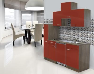Küchenblock 180 KB180EYR Eiche York Front rot