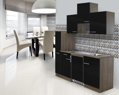 Küchenblock 180 KB180EYS Eiche York Front schwarz
