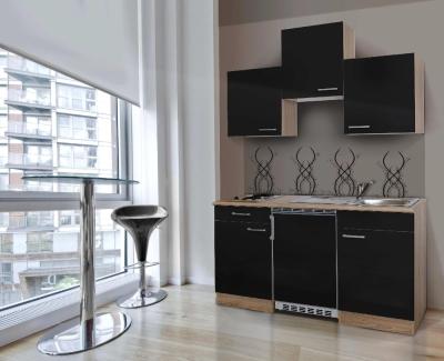 Küchenblock 150 KB150ESS Eiche hell Front schwarz