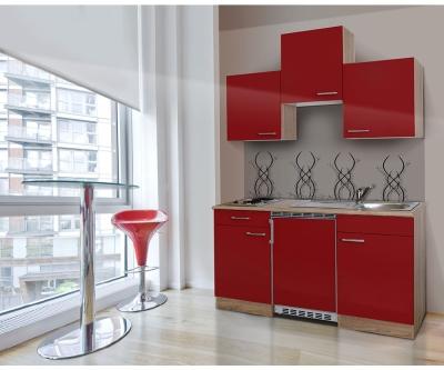 Küchenblock 150 KB150ESR Eiche hell Front rot