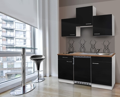 Küchenblock 150 KB150WS weiss Front schwarz