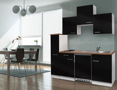 Küchenblock 180 KB180WS weiss Front schwarz