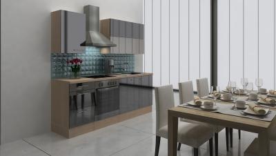 respekta Küchenblock RP220ASC Hochglanz schwarz ohne Kühlschrank