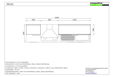 respekta k chenblock rp220asc hochglanz schwarz ohne. Black Bedroom Furniture Sets. Home Design Ideas