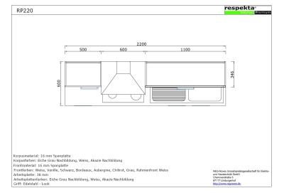 respekta k chenblock rp220agc hochglanz grau ohne k hlschrank. Black Bedroom Furniture Sets. Home Design Ideas