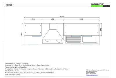 respekta k chenblock rp210wboc hochglanz bordeaux ohne k hlschrank. Black Bedroom Furniture Sets. Home Design Ideas