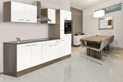 respekta Küchenzeile KB300EYW Eiche York Nachbildung Front weiss Seidenglanz 300 cm