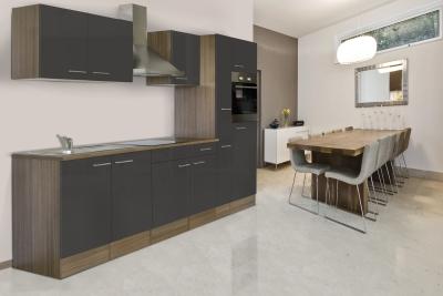 respekta Küchenzeile KB300EYG Eiche York Nachbildung Front grau Seidenglanz 300 cm