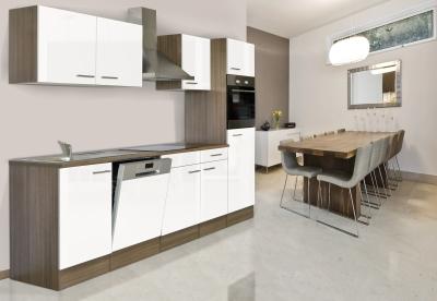 respekta Küchenzeile KB280EYW Eiche York Nachbildung - Front weiß Seidenglanz