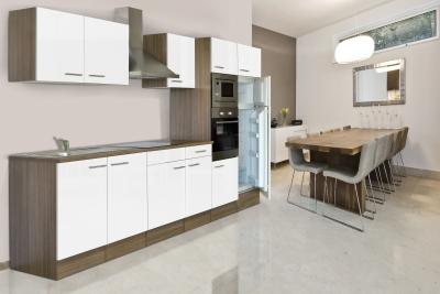 respekta Küchenzeile KB330EYWMIGKE Eiche York Nachbildung - Front Dickkante 1,2 mm weiß Seidenglanz