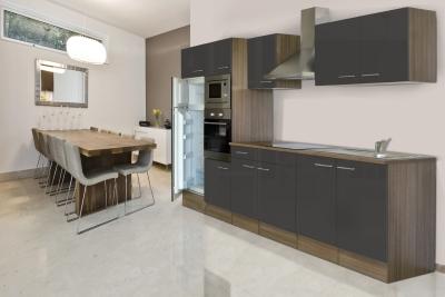 respekta Küchenzeile KB330EYGMIGKE Eiche York Nachbildung - Front Dickkante 1,2 mm grau Seidenglanz