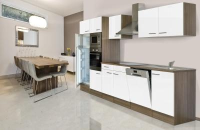 respekta Küchenzeile KB340EYWMIGKE Eiche York Nachbildung - Front Dickkante 1,2 mm weiß