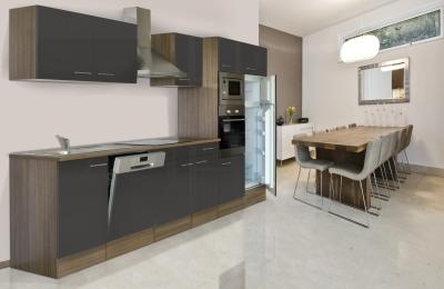 respekta Küchenzeile KB340EYGMIGKE Eiche York Nachbildung - Front Dickkante 1,2 mm grau