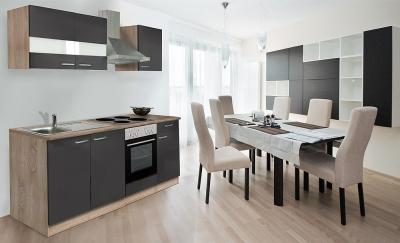 respekta Küchenzeile KB210ESG grau  ohne Kühlschrank