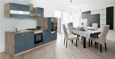 Küchenblock Küchenzeile Grau Eiche KB300ESG 3 m breit