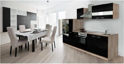 Küchenblock Küchenzeile schwarz Eiche KB300ESS 3 m breit