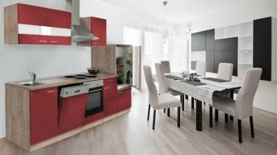 Küchenblock Küchenzeile 280 rot eiche KB280ESR