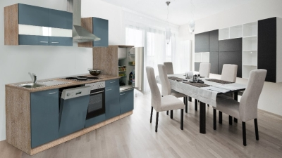Küchenblock Küchenzeile 280 grau eiche KB280ESG