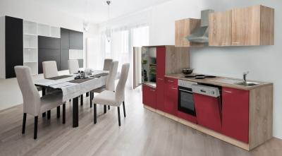 Küchenblock Küchenzeile 310 rot eiche KB310ESROES