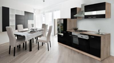 Küchenblock Küchenzeile 310 schwarz eiche KB310ESS