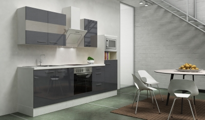 respekta Küchenblock RP270WGCMIS Hochglanz grau Schräghaube