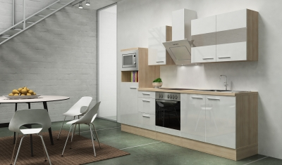 respekta Küchenblock RP270AWCMIS Hochglanz weiss Schräghaube