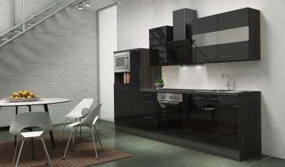respekta Küchenblock RP300ESCMIS Hochglanz schwarz Schräghaube