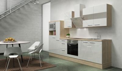 respekta Küchenblock RP300AWCMIS Hochglanz weiss Schräghaube