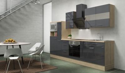 respekta Küchenblock RP300AGCMIS Hochglanz grau Schräghaube