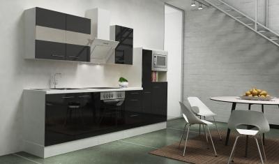 respekta Küchenblock RP300WSCMIS Hochglanz schwarz Schräghaube