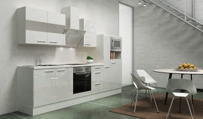 respekta Küchenblock RP300WWCMIS Hochglanz weiss Schräghaube