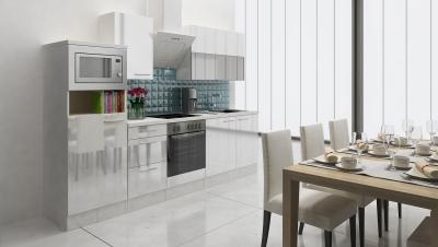 respekta Küchenblock RP280WWCMIS Hochglanz weiss Schräghaube