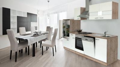 Küchenblock Küchenzeile 280 weiss eiche KB280ESW