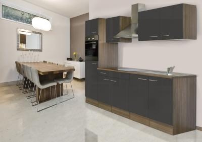 respekta Küchenzeile KB270EYG Eiche York Nachbildung Front grau Seidenglanz 270 cm