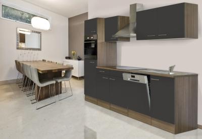 respekta Küchenzeile KB280EYG Eiche York Nachbildung - Front grau Seidenglanz