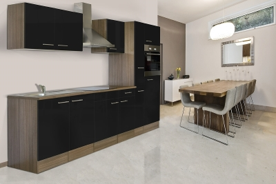 respekta Küchenzeile KB300EYS Eiche York Nachbildung Front schwarz Seidenglanz 300 cm