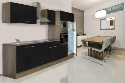 respekta Küchenzeile KB330EYSMIGKE Eiche York Nachbildung - Front Dickkante 1,2 mm schwarz Seidenglanz