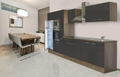respekta Küchenzeile KB360EYGMIGKE Eiche York Nachbildung - Front Dickkante 1,2 mm grau Seidenglanz