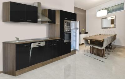 respekta Küchenzeile KB370EYSMIGKE Eiche York Nachbildung - Front Dickkante 1,2 mm schwarz