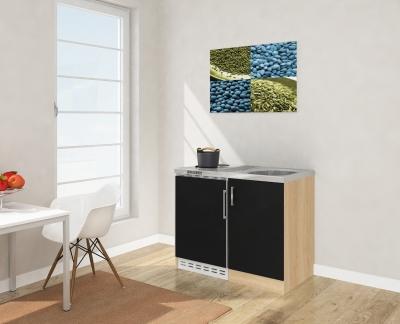 Miniküche MK100ESSS schwarz mit Kühlschrank