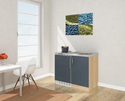 Miniküche MK100ESG grau mit Kühlschrank