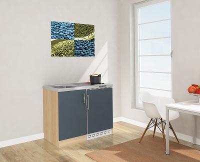 Miniküche MK100ESGC grau mit Kühlschrank