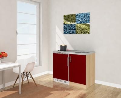 Miniküche MK100ESRCS rot mit Kühlschrank