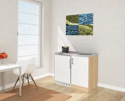 Miniküche MK100ESWC weiss mit Kühlschrank