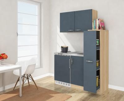 Miniküche MK130ESGOSS grau mit Kühlschrank