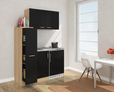 Miniküche MK130ESSOSS schwarz mit Kühlschrank