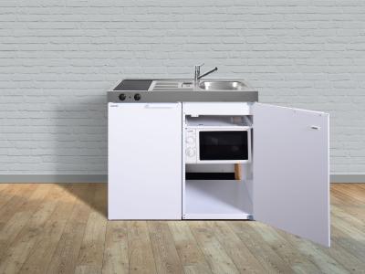 Miniküche MKM 100 Glaskeramik Kochfeld links Becken rechts mit Mikrowelle